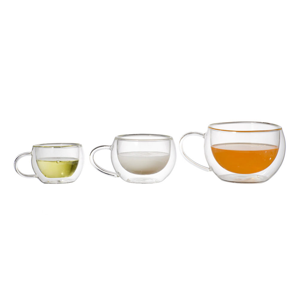 Double wall mini glass cup drinks small coffee cups with handle
