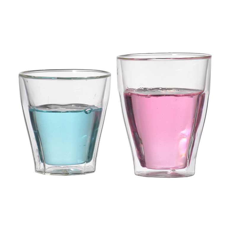 Good Quality clear 350ml reusable coffee cup glass borosilicate double wall glass drinking cup