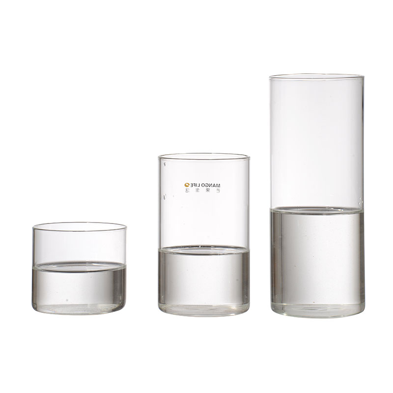 Wholesale high quality simple high temperature resistant Round transparent glass cup customized tea cup juice cup
