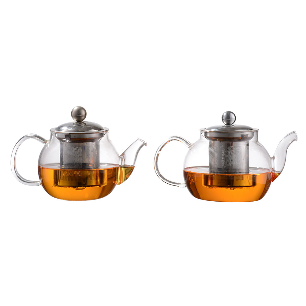 new design high quality glass tea pot with ss infuser