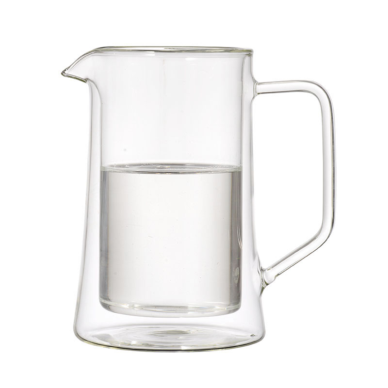 900ML Mouth Blown Borosilicate Glass Double Wall Glass Water Carafe with Handle