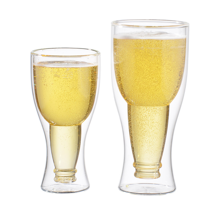wholesale clear creative double wall insulated beer glass cup wholesale