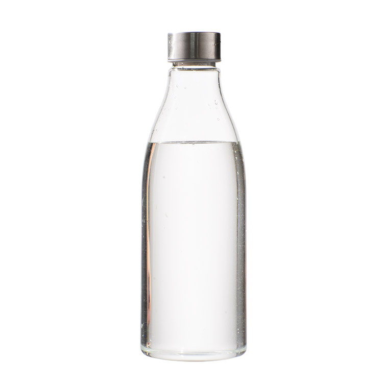Wholesale 500ml Portable Reusable Clear Glass Slot Water Bottle With Stainless Steel Lid